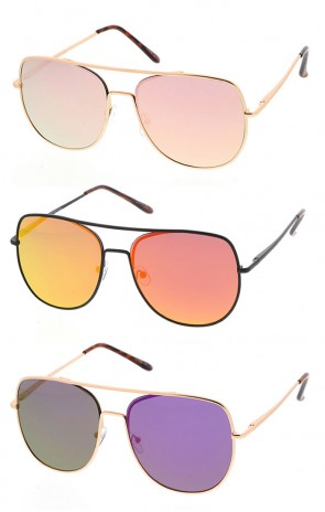 Square Metal Aviator Sunglasses with Mirrored Lens