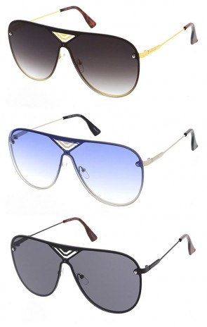 Cross Pattern Metal Aviator Sunglasses