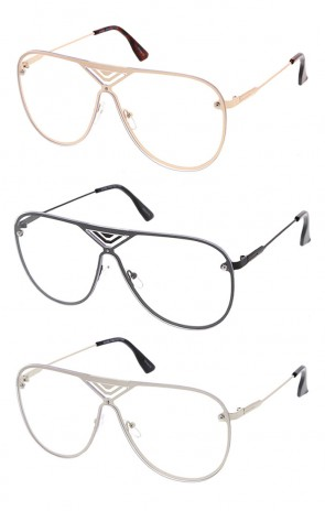 Clear Lens Cross Pattern Metal Aviator Glasses