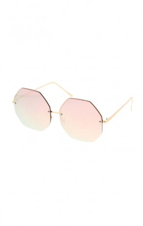 Womens Hexagon Shaped Large Oversized Metal Sunglasses (All Pink Mirror)