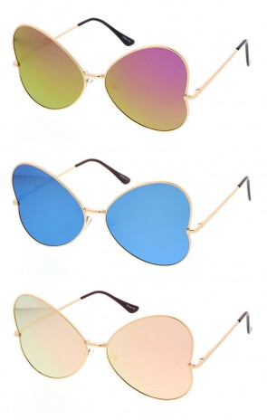 Womens Metal Butterfly Shaped Sunglasses with Mirrored Lenses