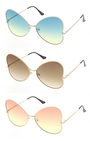 Womens Metal Butterfly Shaped Sunglasses with Ocean Lenses