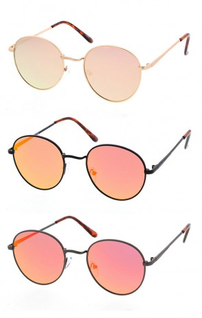 Retro Round Metal Vintage Style Mirrored Sunglasses