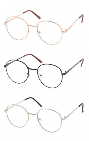 Retro Round Metal Vintage Style Clear Lenses