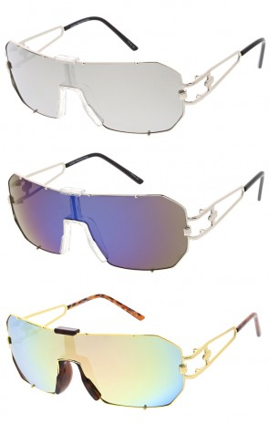 Color Mirrored Lens Metal Frame Shield Wholesale Sunglasses