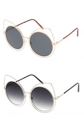 Large Fashion Cat Eye Sunglasses with Metal Frame