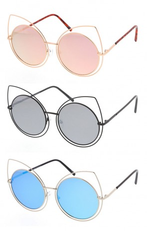 Large Fashion Cat Eye Sunglasses with Mirrored Lenses