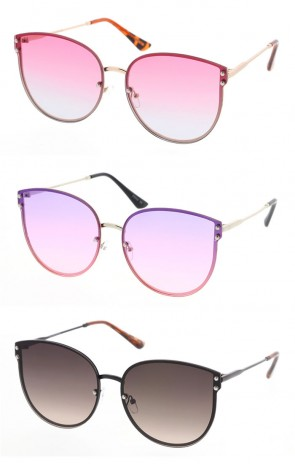 Womens Round Style Metal Frame Sunglasses