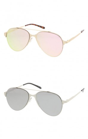 Ultra Sleek Straight Metal Crossbar Color Mirrored Flat Lens Aviator Wholesale Sunglasses