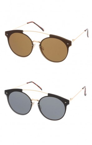 Women's Metal Round Rimless Flat Frame Wholesale Sunglasses