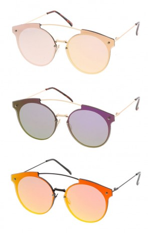 Women's Metal Round Rimless Flat Frame w/ Spectrum Color Mirror Lens Wholesale Sunglasses