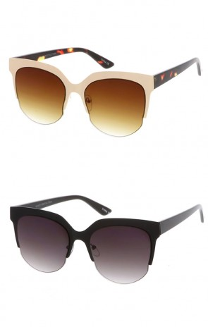 Half Frame Round Lens Cat Eye Wholesale Sunglasses