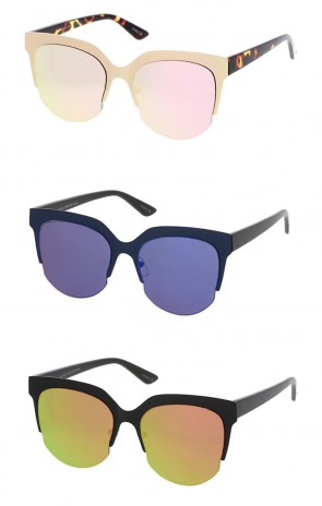 Half Frame Round Mirror Lens Cat Eye Wholesale Sunglasses