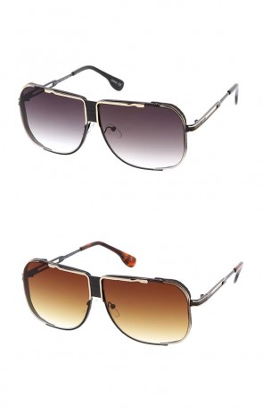 Men's Oversize Metal Flat Top Side Cover Gradient Lens Aviator Wholesale Sunglasses