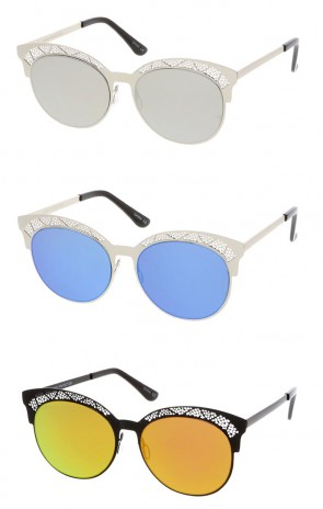 Half Round Mirror Frame Cat Eye Wholesale Sunglasses