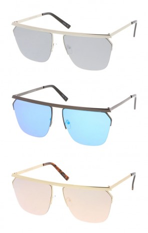 Oversize Modern Semi Rimless Straight Crossbar Color Mirrored Flat Lens Aviator Wholesale Sunglasses