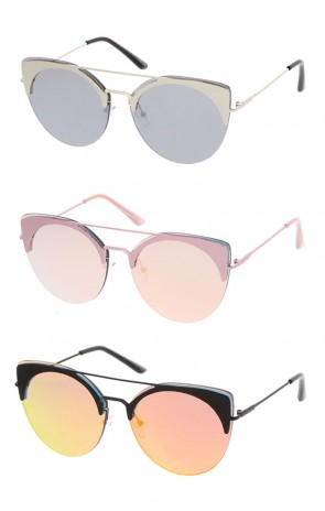 Oversize Rimless Double Crossbar Round Mirrored Flat Lens Cat Eye  Wholesale Sunglasses
