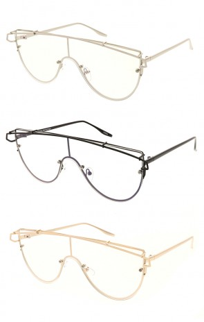 Modern Oversize Laser Cut Clear Lens Wholesale Sunglasses