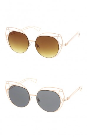 Women's Oversize Round Laser Cut Lens Cat Eye Wholesale Sunglasses
