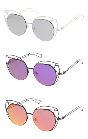 Women's Oversize Round Laser Cut Mirror Lens Cat Eye Wholesale Sunglasses