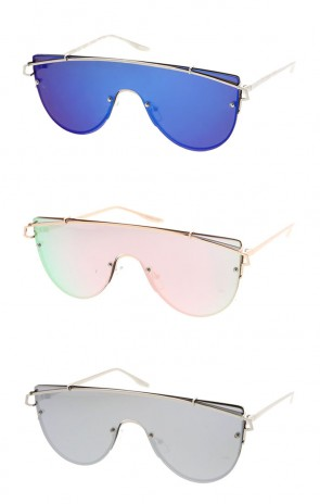 Futuristic Rimless Metal Crossbar Colored Mono Mirror Lens Shield Wholesale Sunglasses