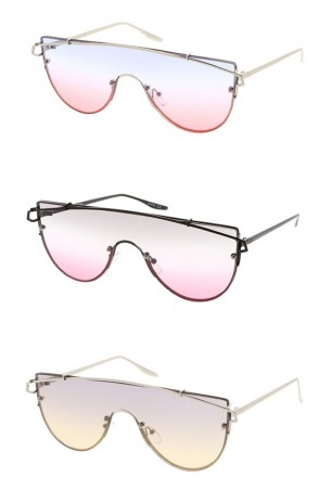 Futuristic Rimless Metal Crossbar Colored Mono Color Lens Shield Wholesale Sunglasses