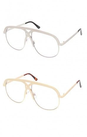 Round Flat Clear Lens Aviator Wholesale Sunglasses