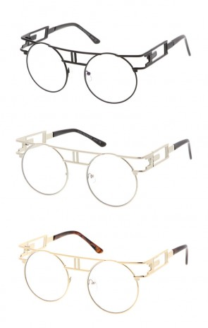 Retro Round Clear Metal Steampunk Flat Lens Wholesale Sunglasses