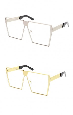Retro Modern Space Laser Flat Top Clear Lens Wholesale Sunglasses