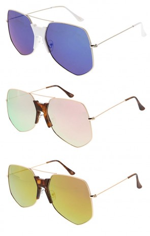Wholesale Oversized Metal Squared Aviator Mirrored Lens Sunglasses
