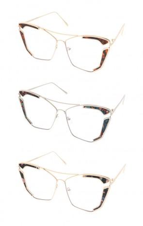 Retro Modern Cat Eye Clear Lense Wholesale Sunglasses