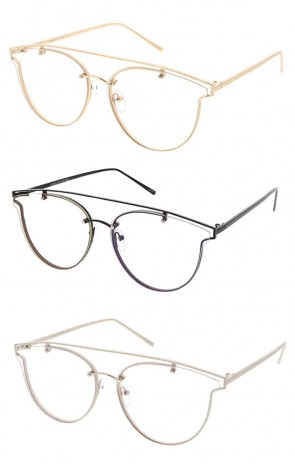 Wholesale Wire Frame Rimless Clear Lens Sunglasses