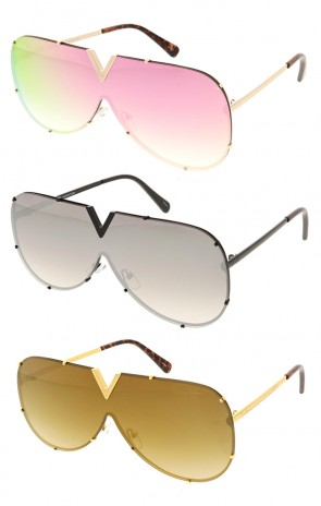 Retro Modern Flat Top colored Lens Shield Aviator Wholesale Sunglasses