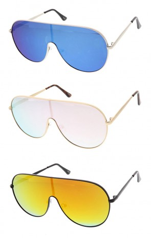 Oversized Retro Modern Flat Top Shield Mirror Lens Wholesale Sunglasses