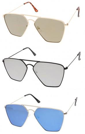 Retro Slim Mirror Flat Lens Wholesale Sunglasses