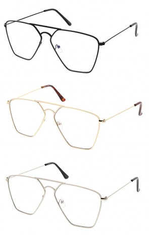 Wholesale Square Metal Frame Aviator Clear Lens Sunglasses