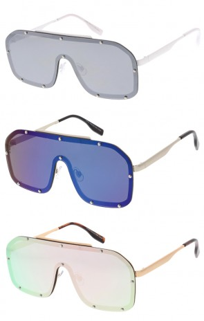 Retro Disco Mono Color Mirror Lens Aviator Wholesale Sunglasses