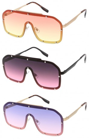 Modern Fashion Oversized Square Studded Shield Color Lens Wholesale Sunglasses