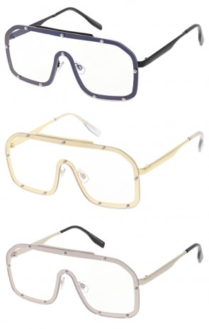 Modern Fashion Oversized Square Studded Shield Clear Lens Wholesale Sunglasses