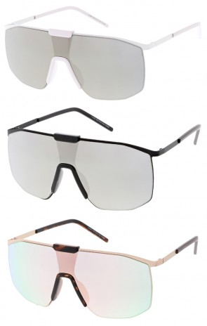 Oversize Simi Rimless Metal Trim Mirrored Mono Lens Shield Wholesale Sunglasses