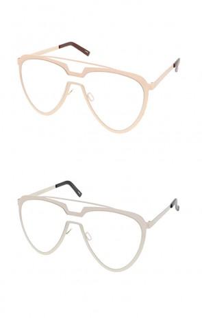 Retro Crossbar Tear Drop Clear Lens Wholesale Sunglasses