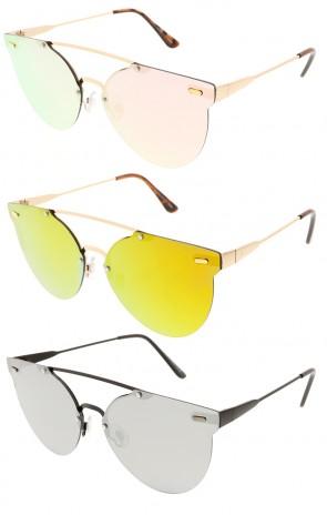 Modern Rimless Metal Crossbar Mirror Round Aviator Wholesale Sunglasses
