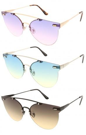Modern Metal Round Aviator Crossbar Wholesale Sunglasses