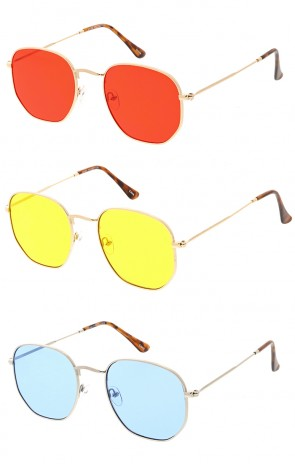 Premium Retro Small Octagon Color Lens Wholesale Sunglasses