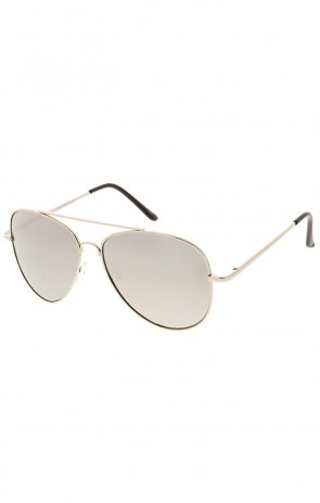 Large Metal Aviator Mirrored Lens Wholesale Sunglasses