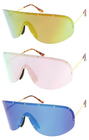 Oversized Rimless Revo Shield Wholesale Sunglasses