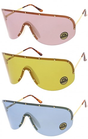Futuristic Oversize Rimless Color Mono Lens Wholesale Sunglasses