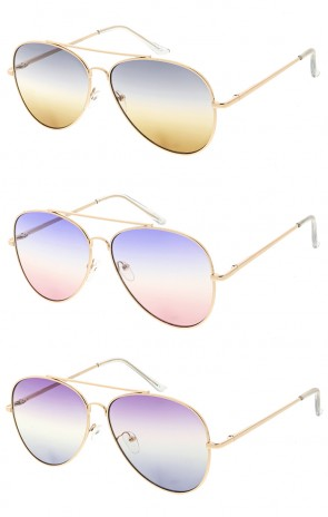 Retro Aviator Modern Multi Color Flat Lens Wholesale Sunglasses