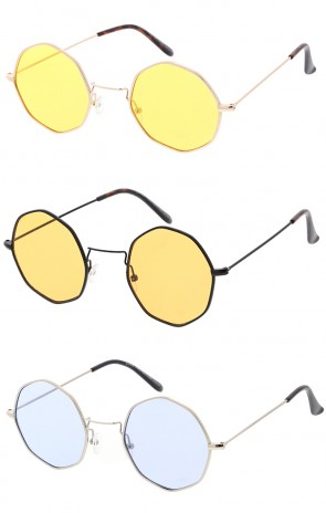 Retro Geometric Octagon Dapper Color Lens Wholesale Sunglasses