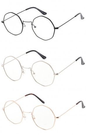 Retro Geometric Octagon Dapper Clear Lens Wholesale Sunglasses